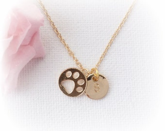 Gold paw print Necklace, dog paw print, dog paw print necklace,paw print,dog necklace,paw print jewelry, dog lovers jewelry, pet remembrance