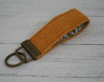 Yellow Harris Tweed keyring key fob