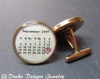 1 year anniversary gift for him Personalized Cufflinks 1st paper anniversary gift for him first anniversary Solid Bronze Custom Calendar