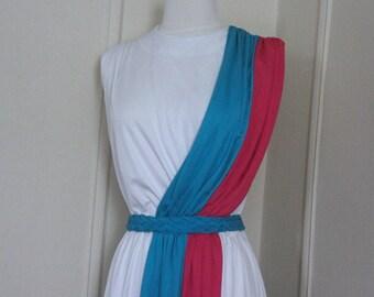 1980s white + turquoise + dusty rose grecian sash dress - faux wrap, Amazon goddess, khaleesi, vintage 1970s to 80s -  size medium to large