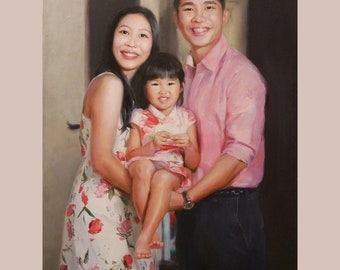 Custom photo painting, commission art portrait from photo