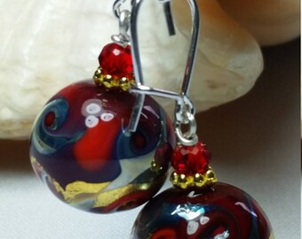 murano glass earrings, Pleiadi Red color, Gold leaf 24 kt, lampwork, handmade