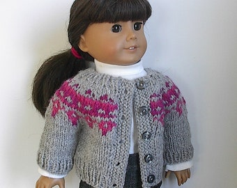 "18"" Doll Clothes Knit Sweater Buttons in Front or Back in Gray, Pink & Purple Fair Isle Design Handmade to Fit American Girl and other Dolls"