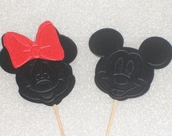 Mickey Mouse or Minnie Mouse Cupcake Topper Picks for Birthdays, Showers, Parties