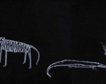Original lithograph - Tiger and Crocodile