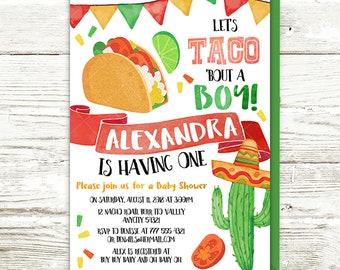 Taco Baby Shower Invitation, Mexican Taco 'bout a Baby Invite, Mexican Fiesta Taco Cactus Sombrero Baby Shower Printable Invitation