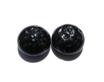 2 HALF BALLS PAW BLACK BAROQUE GLASS CABOCHON IS SET ON 5/15 MM LENGTH 25MM PIN