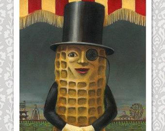 Mr. Peanut Print, Vintage Mr Peanut Art, Vintage Atlantic City, Retro Food Print, Boardwalk, Vintage, Anthropomorphic Food, Amusement Park