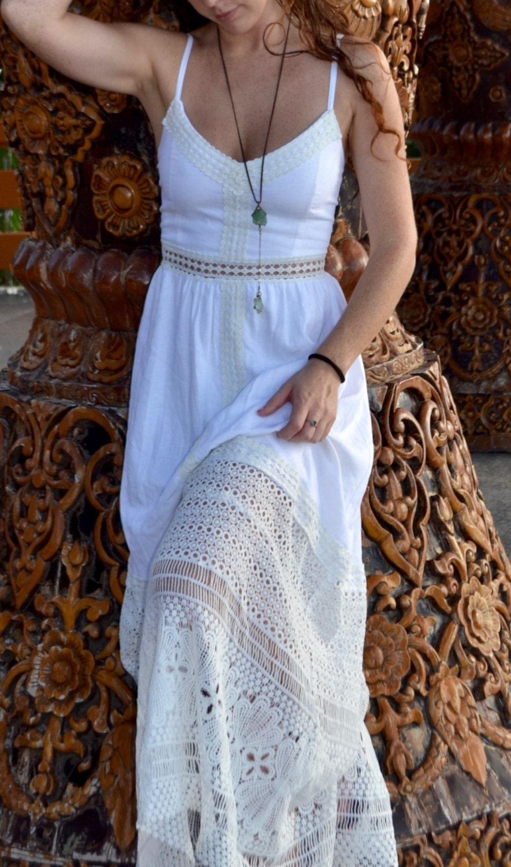 Maxi-Kleid weiß Maxi weiß Brautkleid Leinen