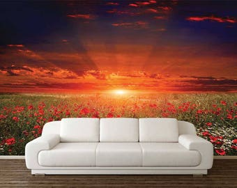 Wall Decal Sun, Wall Mural Floral, Wall Mural Flowers, Sun Wallpaper, Sunshine Wall Mural