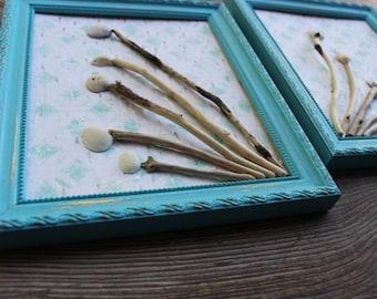 Beach Room Decor Turquoise Frame Driftwood & shell Art , Coastal Decorating , Nautical Wall Art