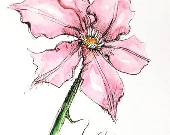 Pink Clematis Original Watercolor Art Painting Pen and Ink Watercolor Hand Painted Flower