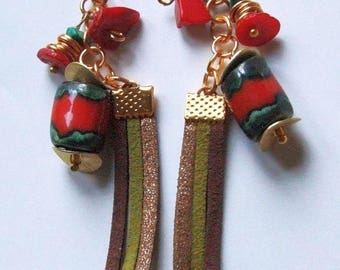 Ceramic handcrafted coral malachite leather accessories gold plated earrings