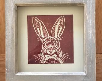 Framed Handprinted Linocut Brown Rabbit Print