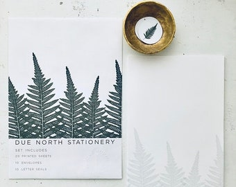 Due North Stationery Set, Letter Writing Set, Letter Writing Sheets, Set of 20, Stationery Gift Set, Made in Alaska, Fern