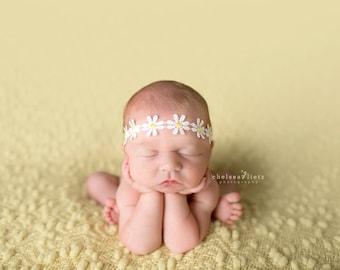 Newborn Daisy Headband, baby girl, headband, hair accessories, flower, crown, photography prop