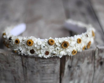 Dried Ammobium Headband, Dried Daisy Headband, Wedding Headband, Rustic Headband