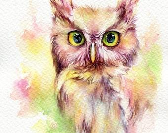 "PRINT –Fantasy Owl Watercolor painting 7.5 x 11"""