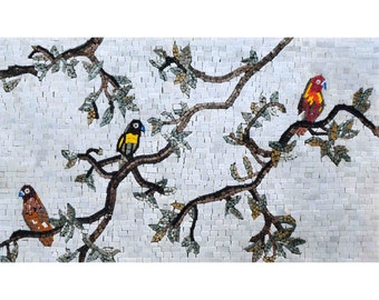 Mosaic Mural -  Birds And Branches