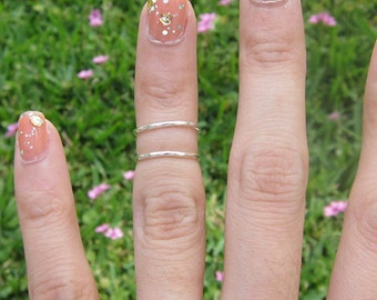 Set of 2 Sterling Silver Thin Knuckle Ring