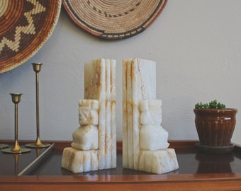 bookends vintage onyx bookends marble book holders boho decor marble bookends mid century modern book shelf decor aztec marble book ends