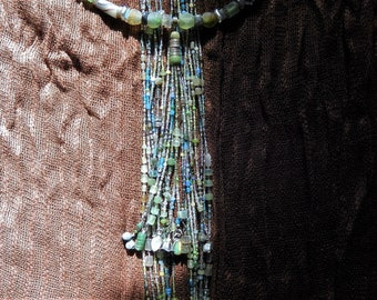 Nerthus - Waterfall Necklace with Labradorite, Moonstone, Jade, Gemstone Charms, Bells, Backdrop Necklace, Cascading Necklace, OOAK Wedding