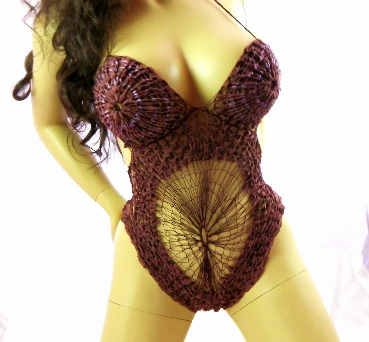Gift For 13th Wedding Anniversary: Lace 13th Wedding Anniversary Gift :burgundy Burlesque Hand