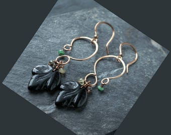 Black Leaf Copper Earrings // Emerald Floral Earrings // Botanical Earrings // Tourmaline Earrings //  Boho Earrings // Nature Jewelry