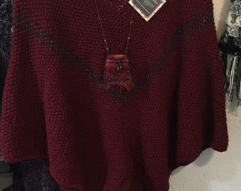 Hand Knit Poncho in Maroon