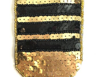 "Sale! PAIR OR SINGLE and Choice of Color, Military Rank Stye Appliqué, Sequin Beaded, 5"" x 2.75""  -B334"