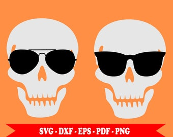 Skull with sunglasses svg, skull with aviator's glasses svg, SVG silhouette; Download with SVG, EPS, DXF, PNG, PDF. For Cricut, embroidery