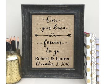 Valentines Day Gift for Husband For WifeOne Year Anniversary Gift  First Year Anniversary Gift  Burlap Print One Year Down Forever To Go