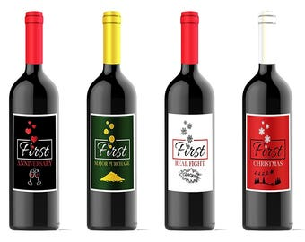 Marriage Firsts Wine Labels