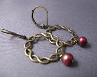 Brass Wreath Earrings with Cranberry Pearl Drops
