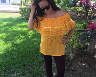 Campesina mexican yellow blouse