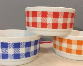 3 vintage French ARCOPAL Ramekins.  Large Glass Bowls, Individual Serving Bowls, Large Ramequins