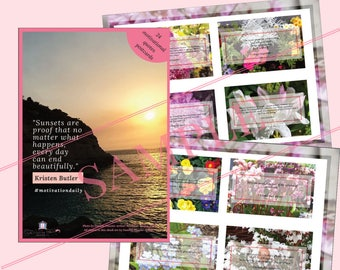 24 Assorted motivational cards (Print & Cut) - Affirmation cards, Inspirational cards, Encouragement/Positivity cards, Friendship cards
