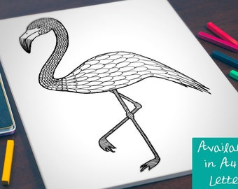 Printable Colouring Page -- Patterned Flamingo Instant Digital Download