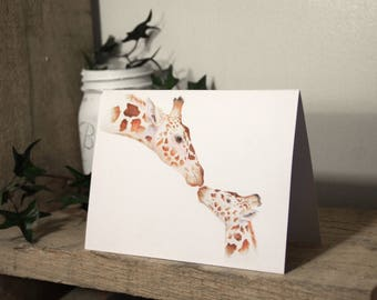 Giraffe card, blank card, watercolor,  greeting card, giraffes, baby shower card, mothers day card, animal card, stationary, note card,