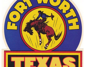 Vintage Style Fort Worth Texas Travel Decal sticker