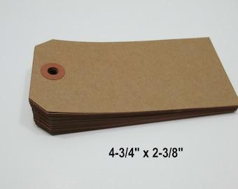"KRAFT Paper Tags, Kraft Luggage Style Paper Tags, Kraft Gift Tag, Kraft Parcel Tag, Kraft Wish Tags, Blank Tags, 4 3/4"" x 2 3/8"" -  100 Tags"