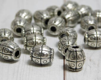 8x7mm - Metal Beads - Large Hole Beads - Barrel Beads - Spacer Beads - Silver Beads - Pewter Beads - 20pcs -(3157)