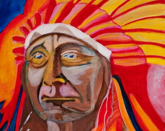 Native American: Origianl Acrylic Painting on Canvas Board