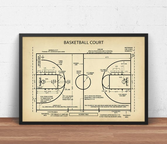 Basketball court blueprint art digital download basketball basketball court blueprint art digital download basketball poster printable basketball gifts boys room decor sports wall art field art malvernweather Choice Image