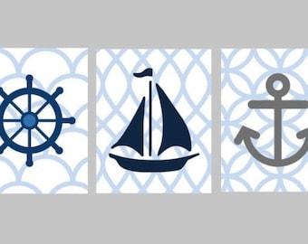Nautical Nursery Wall Art - Navy Blue Nursery Decor - Nautical Art for Kids - Nautical Nursery Decor - Sailboat Art - Three 8x10 PRINTS ONLY