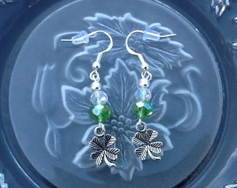 St Patrick's Day Earrings, Four Leaf Clover Earrings, Shamrock Earrings, Luck of the Irish Earrings, Green Swarovski Crystals, Handmade