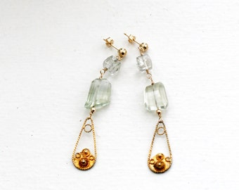 Green Amethyst Earrings and Rutilated Quartz-Upcycled Gold Earrings-Quartz Earrings-Amethyst Earrings-Faceted Amethyst Earrings