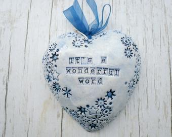 Blue ceramic heart with motivational phrase-ceramic heart hanging-wall decoration-motivational phrase-heart-ceramics