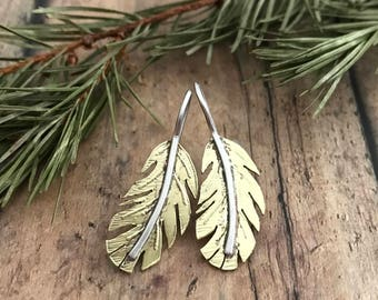 Feather Earrings, Hand Cut and Etched, Brass and Sterling Silver Feather Earrings