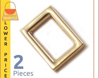 "5/8 Inch Rectangular Flat Ring, Shiny Gold Finish, 2 Pieces, Rectangle For 1/2"" to 5/8"" Straps, Purse Handbag Hardware, RNG-AA239"